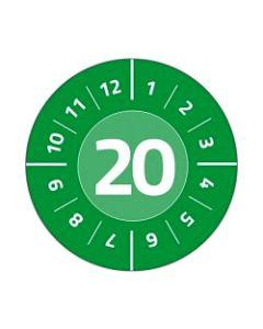 Etykiety inspekcyjne kontrolki przeglądów fi 20 arkusz 25 szt.
