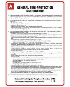 Instrukcja ogólna przeciwpożarowa General fire - protection instructions (wersja angielska)