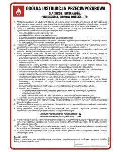 Ogólna instrukcja przeciwpożarowa dla szkół, internatów, przedszkoli, domów dziecka itp