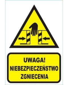 Uwaga! Niebezpieczeństwo zgniecenia dłoni