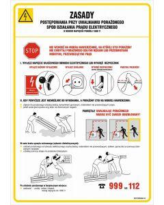 Zasady postępowania przy uwalnianiu porażonego spod działania prądu elektrycznego o niskim napięciu poniżej 1000 V